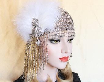 Beaded Gatsby Headpiece   Roaring 20s 1920s Flapper Beaded Headpiece Bachelorette Party Hen Party Gatsby dress Egyptian Cleopatra Costume
