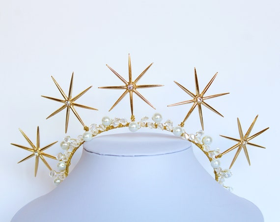 Gold Celestial Star Crown 1920s Starburst Goddess Halo Art Deco Gold Star Wedding Headpiece Celestial Bridal Tiara Wedding Dress Bride Gift