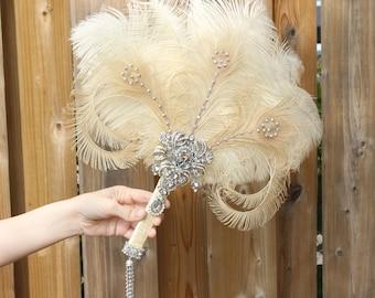 GATSBY Ostrich Feather Fan Bridal brooch Bouquet 1920s Wedding Feather Bouquet Ivory Gatsby Bouquet Roaring 20s alternative bouquet