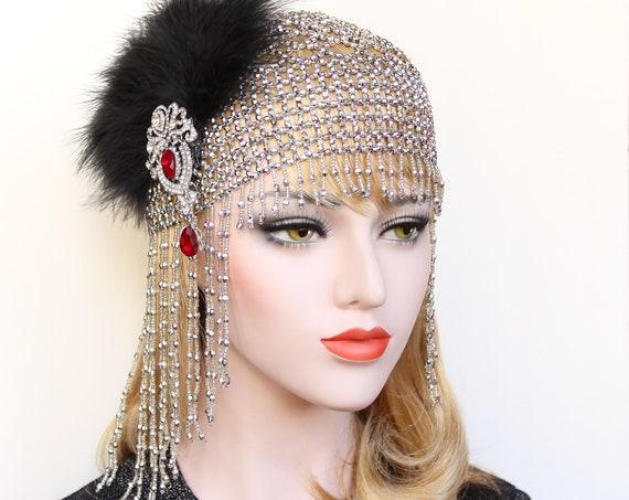 Great Gatsby Headpiece Roaring 20s Flapper Headband Gatsby Dress 1920s Feather Headband Wedding beaded headpiece Beaded Soiree