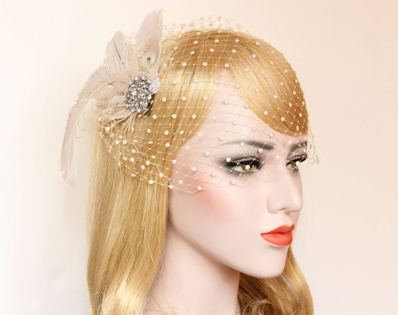 Birdcage Veil with pearls Wedding Feather Hair clip Bridal Fascinator French net Bridal Veil Crystal Blusher Veil Wedding Bird Cage veil