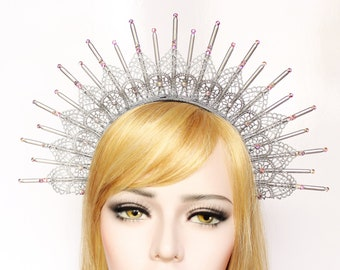 Silver Goddess Crown Lace Halo Headpiece Starburst Headdress Spike Headband Virgin Mary Bridal Crown Festival Burning Man Costume