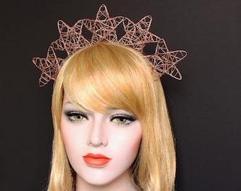 Copper Celestial Star Crown Celestial Halo Headband Costume Star Halo Headdress Wedding Headpiece Wedding Rose Gold Stars Headband