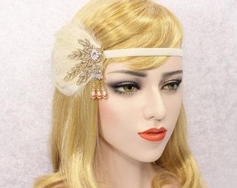 GATSBY HEADPIECE Feather Flapper Headband | 1920s headpiece Roaring 20s Headband wedding headband Art Deco Headpiece