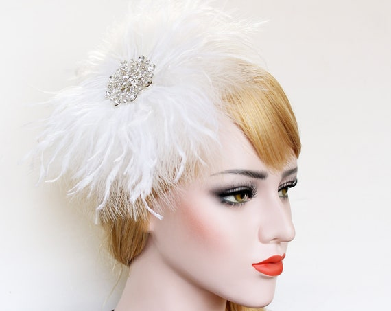 Gatsby Headpiece 1920s Wedding Dress Feather Fascinator Hair piece Feather Hair clip Bridal Hair Accessory Prom Bachelorette Hen Party