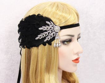 Great Gatsby Headpiece | 1920s Gatsby Headband 20s Feather Flapper Girl Vintage Headband Tie back Headband  Hen Party Bachelorette party