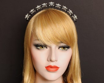 Black Skull Crossbones Crown Goddess Halo Headpiece Gothic Headband Gothic Wedding Headpiece Bridal Crown Skull Alternative Headdress