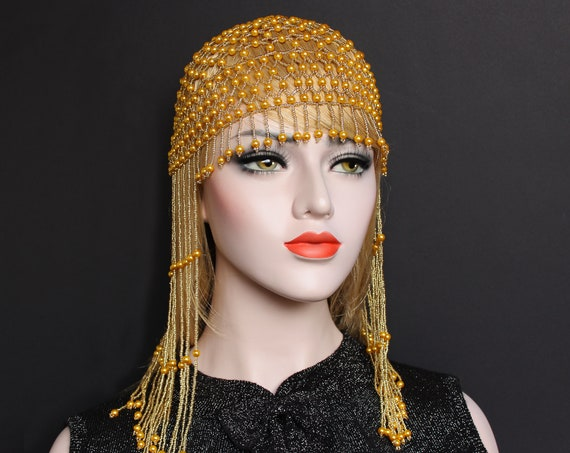 1920s fully beaded flapper cap Gatsby Wedding headpiece Pearl head cap Bridal headpiece 20s Pearl Flapper hat Great Gatsby Wedding Dress