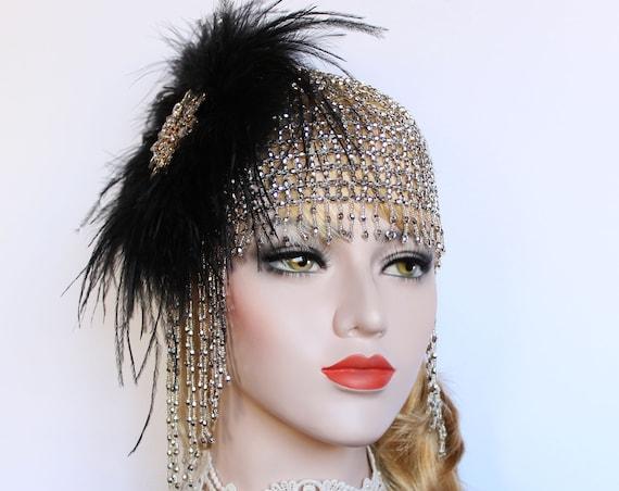 Gatsby Headpiece black Feather Flapper Headband Gatsby Dress Roaring 1920s Beaded Headpiece 20s Beaded cap Bachelorette Hen Party