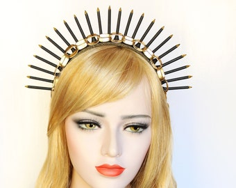 Spike Halo Crown Gold Black Heavenly Bodies Headpiece Starburst Goddess Burning man Headdress Virgin Mary Bridal Crown Spiked Headband