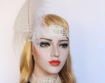 Gatsby headpiece White Ostrich Feather Flapper Headband Gatsby Dress 1920s wedding Hair piece Bridal Headband Bachelorette Hen Party