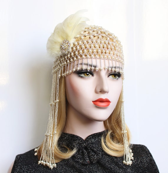 1920s Pearl fully beaded headpiece with ivory feather fascinator for Gatsby Wedding Flapper Headpiece Downton Abbey Roaring 20s Party