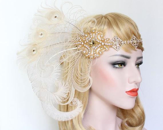 Great Gatsby headpiece 1920s Feather Flapper Headband Silver Gold Ivory wedding headpiece Gatsby Dress Bridal Bachelorette Hen Party Prom