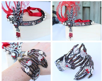 Crystal Skull Jewelry Set Sugar Skull Headpiece Skull Bracelet Black Red Gothic Jewellery Day of the dead Headband Día de los Muertos