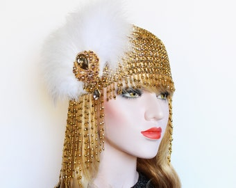 Gold White Gatsby Headpiece 1920s Fringe Beaded Cap Feather Flapper Headpiece Downton Abbey Bridal Headpiece Roaring 20s Wedding Dress Gala