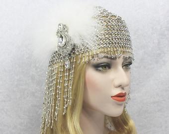 Great Gatsby Headpiece | Roaring 20s 1920s Flapper Beaded Headpiece Bachelorette Party Hen Party Gatsby dress Egyptian Cleopatra Costume