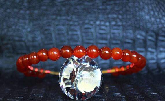 Red Carnelian Headband Bridal Gemstone Crown Crystal Wedding headpiece Autumn Tiara Crystal Halo Crown Aura Carnelian Headpiece