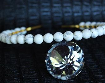 White Howlite Crown Bridal Gemstone Crown Crystal Wedding headpiece Bridal Tiara Crystal Halo Crown Aura Howlite Headpiece