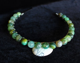 Green Agate Headband Crystal Bridal Tiara Gemstone Crown Green Wedding headpiece Crystal Halo Crown Aura Agate Headpiece