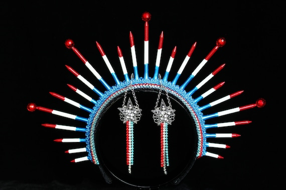 Patriot Headpiece Earrings USA Red White Blue Independence Day Headband Earrings Lady Liberty Spike Crown 4th of July Patriotic Apparel