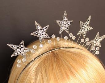Silver Celestial Star Crown Celestial Halo Headband Crystal Bridal Headpiece Wedding Star Halo Headdress Silver Stars Headband Bachelorette