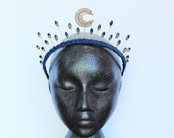 Moon crown crescent moon tiara Baroque Moon goddess headdress Celestial Headband Wedding Headpiece Navy Bridal Crown Prom Headband