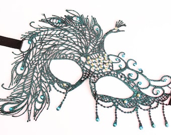 Teal Peacock Masquerade Mask Sexy Burlesque Feather Mask Swarovski Bridal Mask Masked Ball Lace Mask fifty Shades Boudoir Bachelorette Party