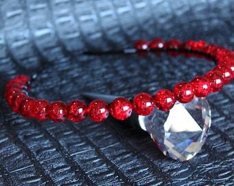 Black Red Tiara Bridal Gemstone Crown Crystal Wedding headpiece Autumn Tiara Gothic Crystal Halo Crown Red Crown Black Headpiece