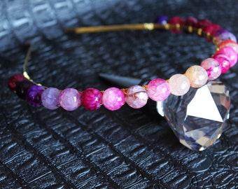 Pink Crystal Agate Headband Bridal Tiara Purple Gemstone Crown Crystal Wedding headpiece Crystal Halo Crown Aura Agate Headpiece