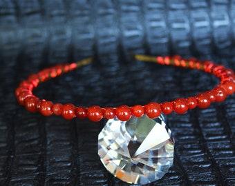 Red Orange Carnelian Crown Bridal Gemstone Crown Crystal Wedding headpiece Autumn Tiara Crystal Halo Crown Aura Carnelian Headpiece