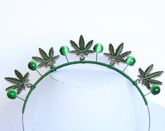 Cannabis Crown Goddess Halo Headpiece Pot leaf Headband Marijuana Wedding Headpiece Bridal Crown Cannabis Wedding Alternative Headdress