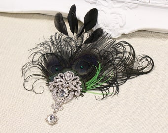 Gatsby 1920s headpiece Feather Fascinator Black Green feather Flapper hair clip 20s headpiece Wedding fascinator Vintage style hair piece