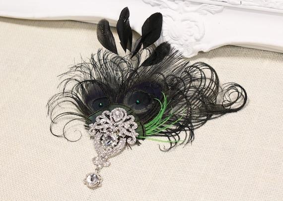 Gatsby 1920s headpiece Feather Fascinator Black Green feather Flapper hair clip 20s headpiece Wedding fascinator Vintage style hair piece