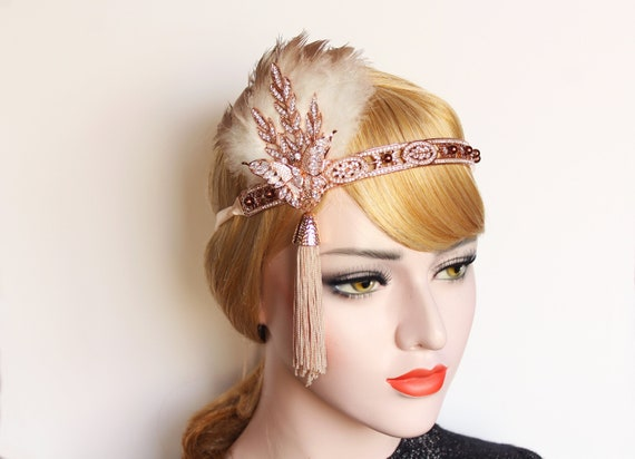 1920s Great Gatsby Headpiece Rose Gold Butterfly Headband Feather Flapper Bridal Headpiece 20s Wedding Dress Bachelorette Prom Gatsby Party