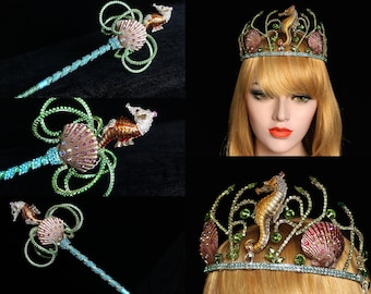 Mermaid Crown Seashell Crown beach wedding seahorse Bridal headpiece Seahorse Shell Tiara Wedding Dress Bridal Crown Under the sea headpiece