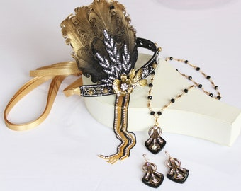 Gold Black 1920s Headpiece Geometric Earrings Necklace Jewellery Set Art Deco Wedding Crown Bridal Jewelry Gatsby Art Deco Roaring 20s