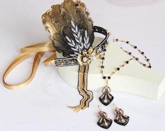Black Gold Art Deco Earrings Necklace Gatsby 1920s Flapper Wedding Dress Geometric Bridal Jewelry set Roaring 20s Bachelorette Party Prom