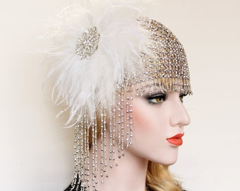 Gatsby Beaded Cap Wedding Headpiece 1920s vintage headband Feather headdress great Gatsby flapper roaring 20s dress Gatsby wedding dress