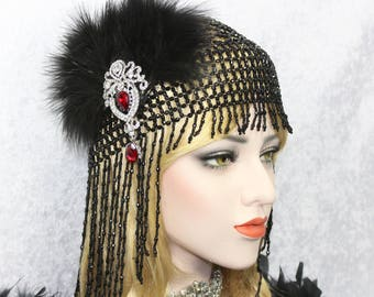 Beaded Gatsby Headpiece | Roaring 20s 1920s Flapper Headpiece Bachelorette Party Hen Party Gatsby dress Egyptian Cleopatra Costume headpiece