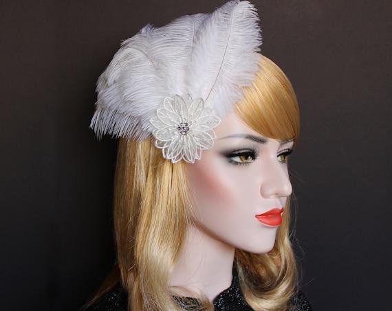 White 1920s Feather Hair Clip Gatsby Headpiece Bridal fascinator feather flapper hair piece roaring 20s wedding dress downton abbey