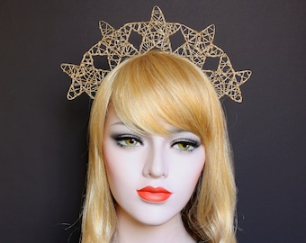 Gold Celestial Star Crown Celestial Halo Headband Costume Star Halo Headdress Wedding Headpiece Wedding Gold Stars Headband