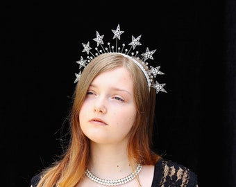Star Crown Silver Celestial Headpiece Celestial Crown Crystal Bridal Headpiece Wedding Star Halo Headdress Silver Stars Headband Prom