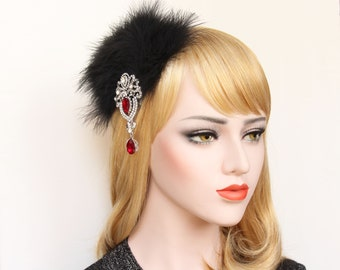 Great Gatsby Headpiece 1920s hair piece feather fascinator  20s feather hair clip Gatsby Dress Party Black Red Fascinator Bachelorette