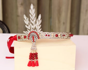 Red Gatsby Headpiece for 1920s Dress Silver Wedding Flapper Headband Roaring 20s Art Deco Bridal Beaded Headpiece Bachelorette Hen Party