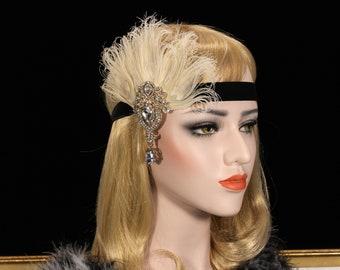 Ivory & Black Great Gatsby Headband | bridal wedding headpiece flapper headband flapper dress gatsby dress feather headpiece