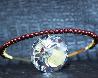 Black Cherry Freshwater Pearl Tiara Gold Bridal headband Wired pearl Wedding Crown Red Gold  Bridal headpiece