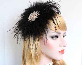 Black Gold Feather Fascinator Gatsby Headpiece Feather Hair piece 1920s Dress Bridal Hair Clip Bachelorette Hen Party