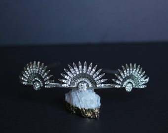 Silver Art Deco Celestial Headpiece Wedding Starburst Tiara Bridal Sunburst Crown Downton Abbey 1920s Headband Great Gatsby Wedding Dress