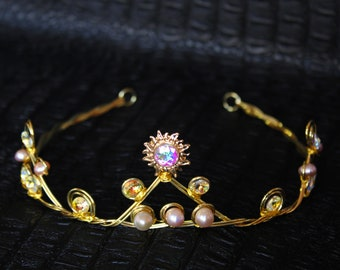 Gold Sun Headpiece Celestial Crown Wedding Sunburst Swarovski Tiara Bridal Starburst Crown Downton Abbey 1920s Headband Great Gatsby Wedding