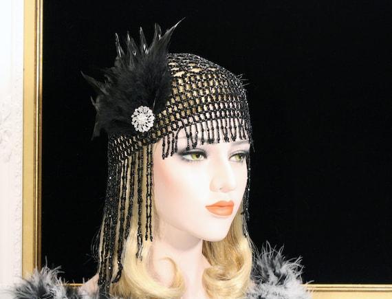 Black Flapper Headpiece Beaded Gatsby Headpiece Roaring 1920s  915b527ba1bf